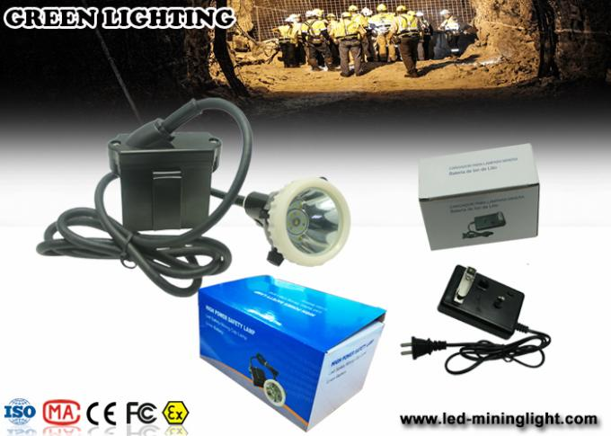 4000 Lux / 6.6ah Waterproof Safety Led Cap Lamp With Li - Ion Battery , Long Work Time