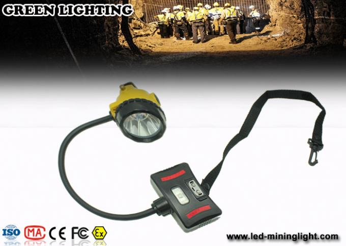 LED Two Charging Way IP68 Miners Cap Lamp with Warning Light , 28000lux Superbright
