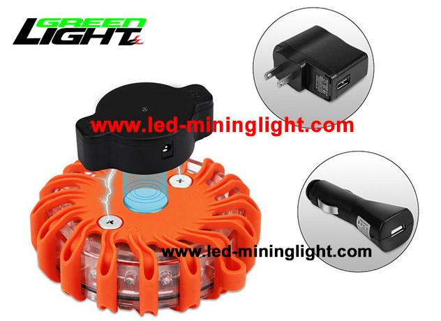 Magnetic Rechargeable FRED Flashing Roadside Emergency Disc LED Warning Flare with Waterproof Impact Resistant