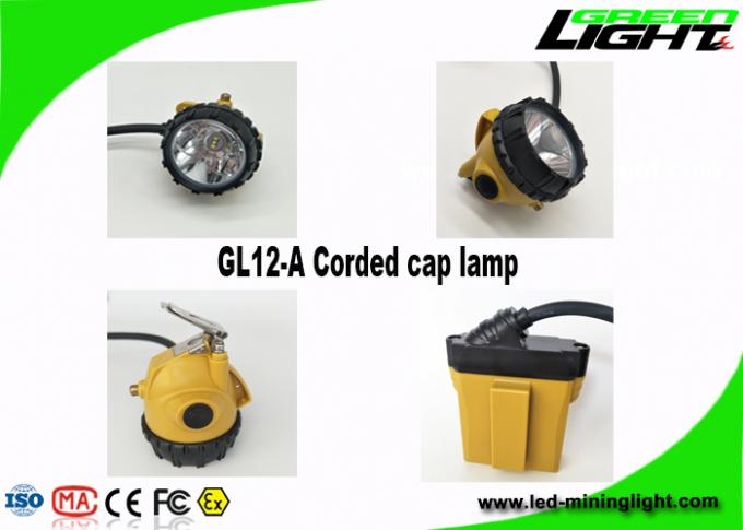 25000 Lux Corded Miners Cap Lamp 10.4Ah Aluminum Lighting Cup With Perfect Light Spot waterproof IP68