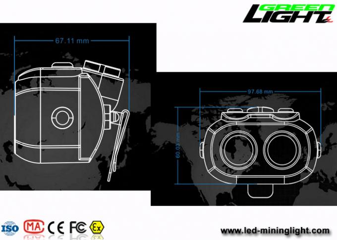 Dual Beam OLED 15000lux Mining Hard Hat Headlamp Double Shot Molding IP68