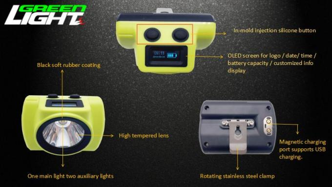 High Brightness Coal Miner Hard Hat Light OLED Screen For Battery Capacity Display