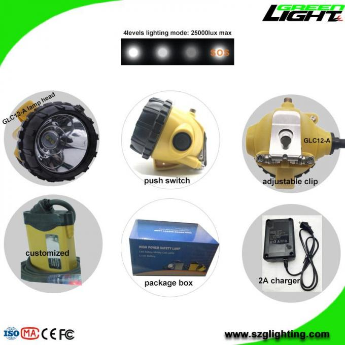 Aluminum Miners Cap Rechargeable LED Headlamp IP68 10.4Ah SAMSUNG Battery High Safety 1
