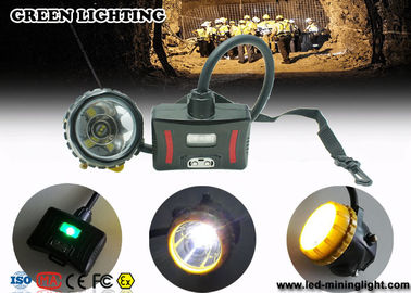 China LED Two Charging Way IP68 Miners Cap Lamp with Warning Light , 28000lux Superbright supplier