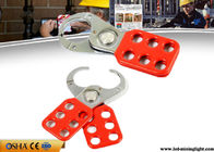 Red Safety Lock Out  Six Holes Vinyl Coated 1 Inch / 1.5 Inch Lock Shackle