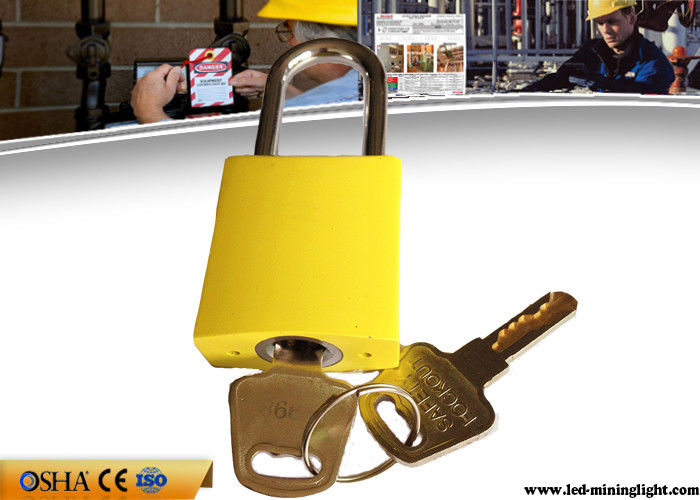 Different Key Yellow Aluminum Safety Lockout Padlock with Brass Key