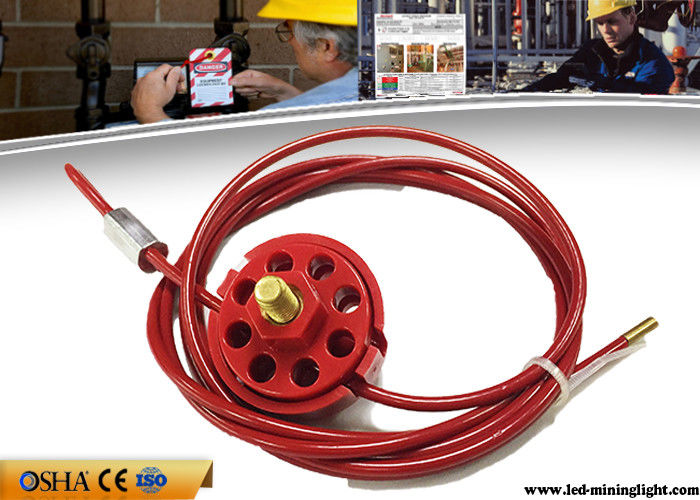 Safety Lock Out With Padlocks ABS Red Wheel Type Cable Lockout 2 / 5 / 10M Cable