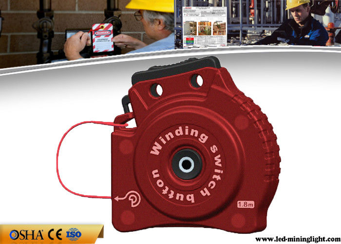 Multi Function Red  Cable Lock Out , PC Automatic Telescopic Lockout Cable