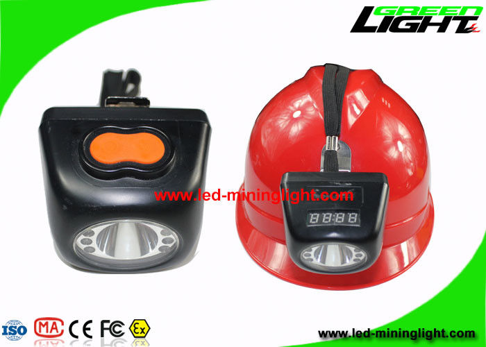 Black Color Cordless Mining Lights , Miners Cap Lamp With High Beam LCD Screen