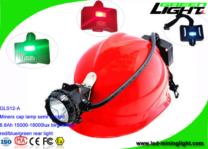 Semi Corded Coal Miner Hard Hat Light 6.8Ah Li - Ion Battery With 2 SMD Back Up Lights