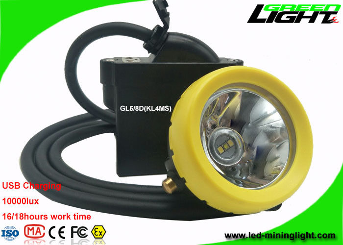 Safety Mining Cap Lights High Low Beam 10000lux With Cable USB Charging Indication