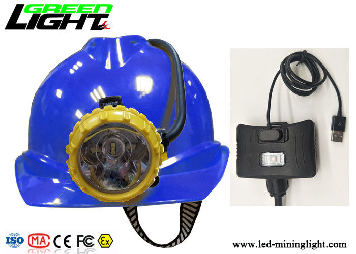 Semi Corded Miner Cap Lamp 15000lux 4 Lighting Modes With Rear Low Power Warning Lamp