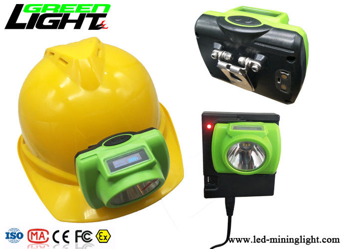 ABS / PC LED Miners Cap Lamp 13000lux Support USB Fast Charge With OLED Screen