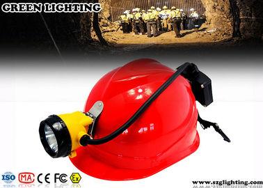 China 15000 Lux Led Miners Cap Lamp , 6.8AH Customized Semi - Corded Led Mining Lamp  factory