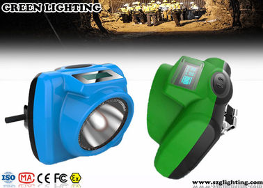 China IP68 1W Miners Head Torch , 5.2Ah 13000 Lux PC Helmet Lamp With OLED Screen factory