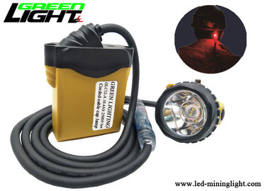 China 3W Coal Miners Headlamp , 25000lux 10.4Ah Miners Cap Lamp Cable Rear Warning Light factory